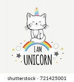 Stock vector i am unicorn cute vector illustration with little cat hand drawn kitten decorative clouds and 721425001