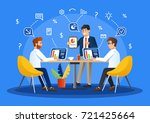 brainstorming creative team... | Shutterstock .eps vector #721425664