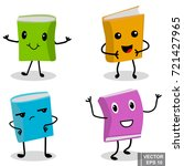 set of funny books. character.... | Shutterstock .eps vector #721427965