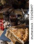 autumn tea party  retro mugs in ... | Shutterstock . vector #721428697