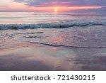 sunset on the beach. baltik sea  | Shutterstock . vector #721430215