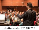 speaker giving a talk on... | Shutterstock . vector #721432717