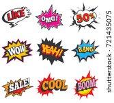 comic sound effect set. bubble...   Shutterstock .eps vector #721435075