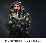 urban look bearded male dressed ... | Shutterstock . vector #721436689