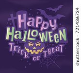 happy halloween stylish... | Shutterstock .eps vector #721436734
