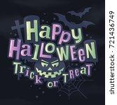 happy halloween stylish... | Shutterstock .eps vector #721436749