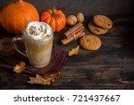 pumpkin spice latte. cup of... | Shutterstock . vector #721437667