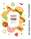 vector fast food template .... | Shutterstock .eps vector #721442869
