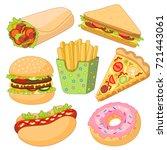 vector burger pizza slice  roll