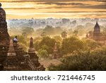 bagan sunrises with tourist in... | Shutterstock . vector #721446745