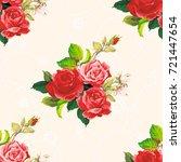 seamless floral pattern rose... | Shutterstock .eps vector #721447654