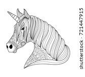 drawing unicorn zentangle style ... | Shutterstock .eps vector #721447915