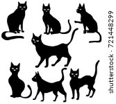 vector set of black cat... | Shutterstock .eps vector #721448299