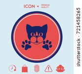 cut cat with paws   logo ... | Shutterstock .eps vector #721458265