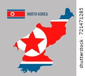 a map of north korea and a flag ... | Shutterstock .eps vector #721471285