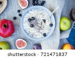 oatmeal with fruits  berries... | Shutterstock . vector #721471837