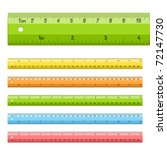 Rulers in centimeters and inches. Vector.