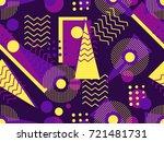 memphis seamless pattern.... | Shutterstock .eps vector #721481731