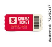 vector red cinema ticket... | Shutterstock .eps vector #721482667