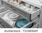 set of tableware in kitchen... | Shutterstock . vector #721483069