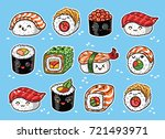 collection of kawaii rolls and... | Shutterstock .eps vector #721493971