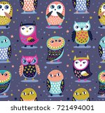 Stock vector cute seamless pattern with owls and stars in night colors vector illustration 721494001