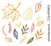 hand drawn autumn set of leaves.... | Shutterstock .eps vector #721495801