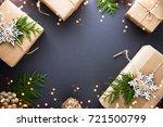 christmas handmade gift boxes... | Shutterstock . vector #721500799