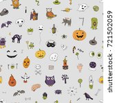 icons and halloween objects... | Shutterstock . vector #721502059