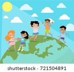 dancing and playing on planet... | Shutterstock . vector #721504891