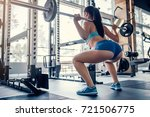 attractive young sports woman... | Shutterstock . vector #721506775
