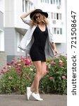 porter girl model in a... | Shutterstock . vector #721508647