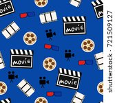 movie abstract seamless pattern ... | Shutterstock . vector #721509127