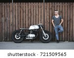 handsome rider guy with beard... | Shutterstock . vector #721509565