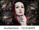 woman numerology and time | Shutterstock . vector #721518499