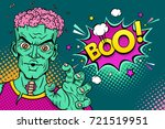 cartoon hand drawn zombie with... | Shutterstock .eps vector #721519951