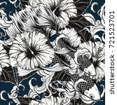 koi fish and hibiscus flower... | Shutterstock .eps vector #721523701