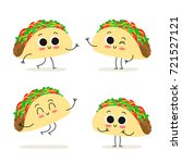 taco. cute fast food vector... | Shutterstock .eps vector #721527121