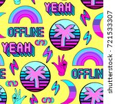 vaporwave seamless pattern with ... | Shutterstock .eps vector #721533307