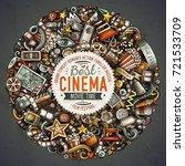 cartoon vector doodles cinema... | Shutterstock .eps vector #721533709