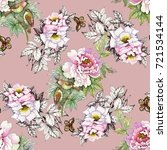 watercolor pink roses with... | Shutterstock . vector #721534144