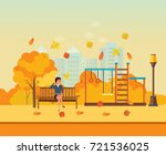 autumn kids playground ... | Shutterstock .eps vector #721536025