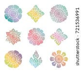 floral thai colorful grunge... | Shutterstock .eps vector #721536991