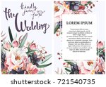 invitations card. watercolor... | Shutterstock . vector #721540735