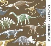 dinosaurs skeletons silhouettes ... | Shutterstock .eps vector #721541401