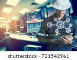 double exposure of engineer or... | Shutterstock . vector #721542961
