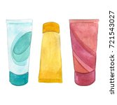cream tube set. watercolor... | Shutterstock . vector #721543027