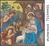 Small photo of LONDON, GREAT BRITAIN - SEPTEMBER 17, 2017: The mosaic of The Adoration of Shepherds in church St. Barnabas by Bodley and Garner (end of 19. cent.).