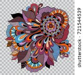 colored floral tattoo artwork.... | Shutterstock .eps vector #721544539