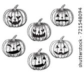 halloween pumpkins hand drawing ... | Shutterstock .eps vector #721548094